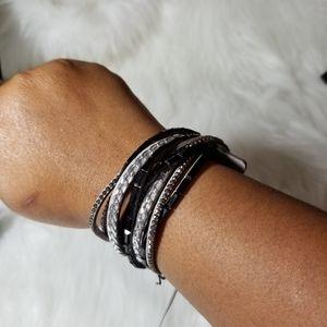 Nwt grey black studded wrap bracelet